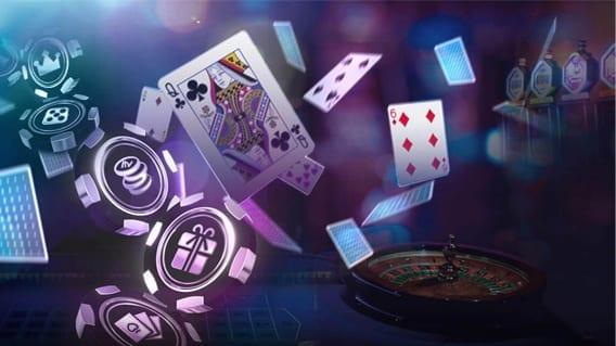 pokerchips, roulette en pokerkaarten | poker